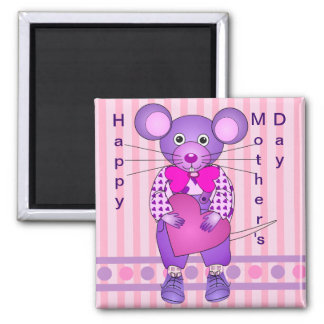 Cute Mother's day magnet wth Mouse holding a Heart