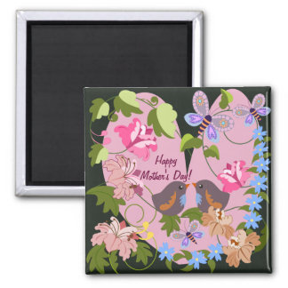 Cute Mother's day magnet wth Retro flowers & Birds