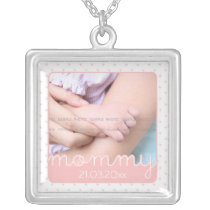 Cute Mothers Day Photo Pink Polka Dots Cut Outs Silver Plated Necklace