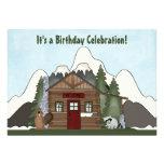 Cute Mountain Cabin Birthday Invitations