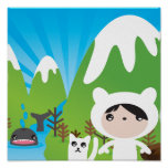 Cute mountain illustration poster for Kids Bedroom