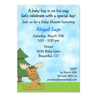 Cute Mountain Moose Boys Baby Shower Invitation