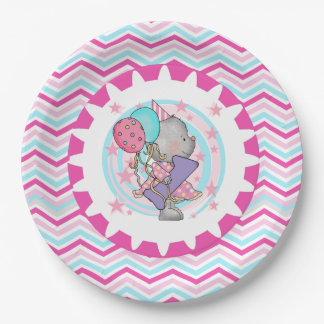 Cute Mouse 1st Birthday Paper Plates 9 Inch Paper Plate