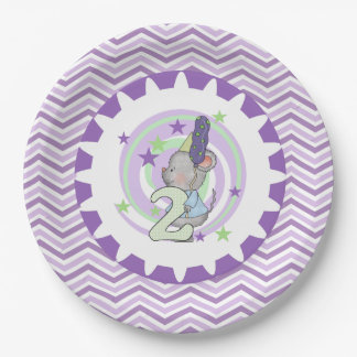 Cute Mouse 2nd Birthday Paper Plates 9 Inch Paper Plate