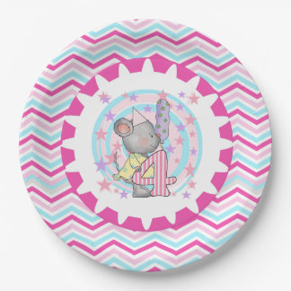 Cute Mouse 4th Birthday Paper Plates 9 Inch Paper Plate