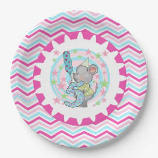 Cute Mouse 5th Birthday Paper Plates 9 Inch Paper Plate