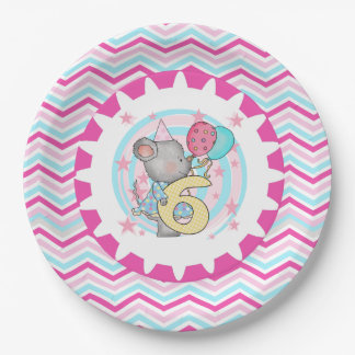 Cute Mouse 6th Birthday Paper Plates 9 Inch Paper Plate