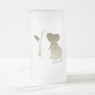 Cute mouse and Calla lily art Frosted Glass Beer Mug
