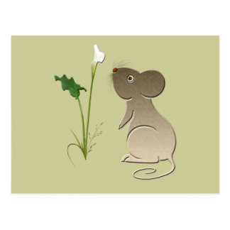 Cute mouse and Calla lily art Postcard