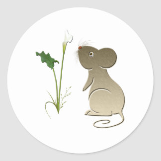 Cute mouse and calla lily classic round sticker