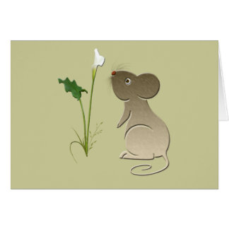 Cute Mouse and Calla lily design Card