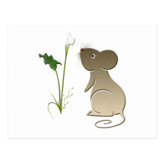 Cute Mouse and Calla Lily Postcard