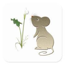 Cute Mouse and Calla Lily Square Sticker