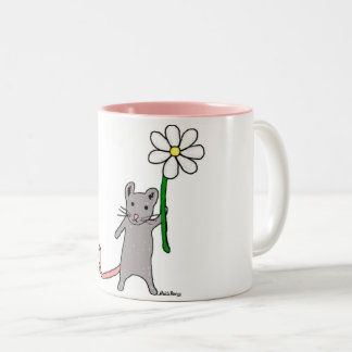 Cute Mouse And Flower Art Mug