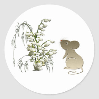 Cute Mouse and Lily of the Valley Classic Round Sticker