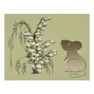 Cute Mouse and Lily of the Valley Poster