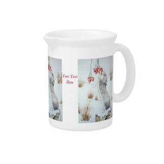Cute mouse and red berries snow scene wildlife art beverage pitcher