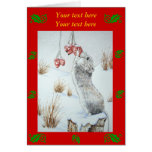 Cute mouse and red berries snow scene wildlife art greeting cards