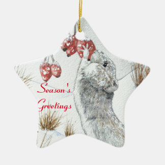 Cute mouse and red berries snow scene wildlife art ceramic ornament