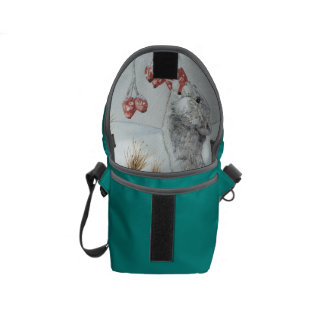 Cute mouse and red berries snow scene wildlife art courier bags
