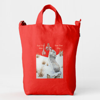 Cute mouse and red berries snow scene wildlife art duck canvas bag
