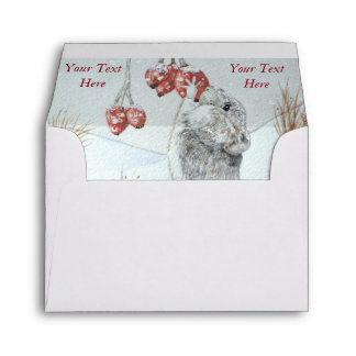 Cute mouse and red berries snow scene wildlife art envelope