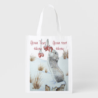 Cute mouse and red berries snow scene wildlife art grocery bag