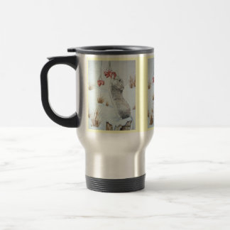 Cute mouse and red berries snow scene wildlife art coffee mugs
