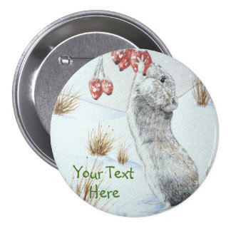 Cute mouse and red berries snow scene wildlife art pinback button