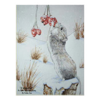 Cute mouse and red berries snow scene wildlife art poster