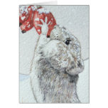 Cute mouse and red berries snow scene wildlife art stationery note card