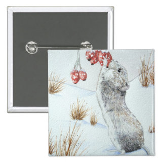 Cute mouse and red berries snow scene wildlife button