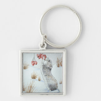 Cute mouse and red berries snow scene wildlife keychain