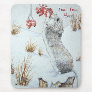 cute mouse and red berries snow scene wildlife mouse pad