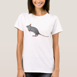 Cute Mouse Carrying Bouquet of Daisies T-Shirt