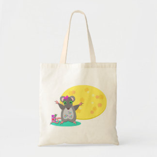 Cute Mouse Celebrates a Birthday Budget Tote Bag