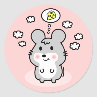 cute mouse cheese dream round stickers