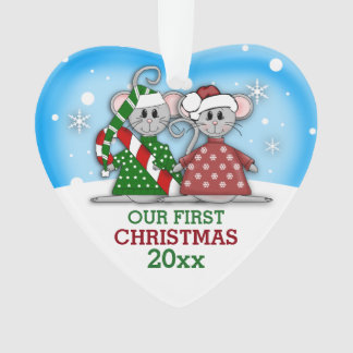 Cute Mouse Couple First Christmas Ornament