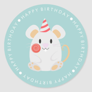 Cute Mouse Happy Birthday Classic Round Sticker