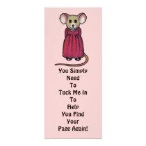 "Cute Mouse in Color Pencil: Bookmark: ""Tuck Me In"" Invitation"