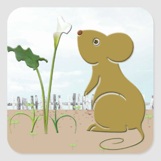 Cute mouse in the garden and calla lily square sticker