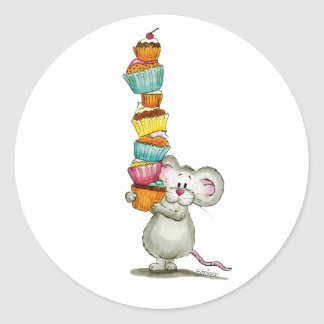Cute Mouse is carrying Cupcakes - by Gerda Steiner Classic Round Sticker
