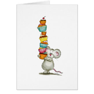 Cute Mouse is carrying Cupcakes - by Gerda Steiner Greeting Card