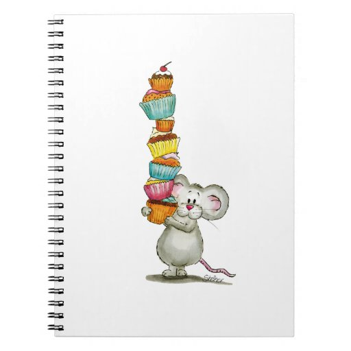 Cute Mouse is carrying Cupcakes - by Gerda Steiner Spiral Notebook