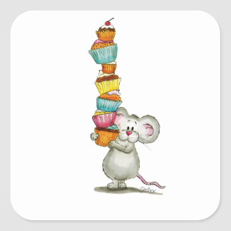 Cute Mouse is carrying Cupcakes - by Gerda Steiner Square Sticker