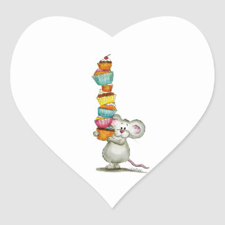 Cute Mouse is carrying Cupcakes - by Gerda Steiner Sticker