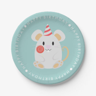 Cute Mouse Kids Birthday Party 7 Inch Paper Plate