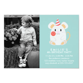 Cute Mouse Kids Photo Birthday Party Card