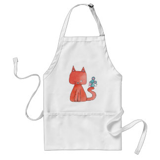 Cute Mouse Loves Kitty Cat Adult Apron