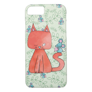 Cute Mouse Loves Kitty Cat iPhone 7 Case